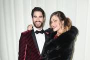 Darren Criss (L) and Mia Swier attend the 26th annual Elton John AIDS Foundation Academy Awards Viewing Party sponsored by Bulgari, celebrating EJAF and the 90th Academy Awards at The City of West Hollywood Park on March 4, 2018 in West Hollywood, California.