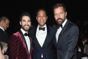 (L-R) Darren Criss, Don Lemon, and Ricky Martin attend the 26th annual Elton John AIDS Foundation Academy Awards Viewing Party sponsored by Bulgari, celebrating EJAF and the 90th Academy Awards at The City of West Hollywood Park on March 4, 2018 in West Hollywood, California.