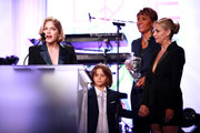 (L-R) Honoree Selma Blair, Arthur Saint Bleick, Robin Roberts and Sarah Michelle Gellar speak onstage during the 26th annual Race to Erase MS on May 10, 2019 in Beverly Hills, California.