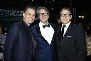 (L-R) Timothy Olyphant, guest and David O. Russell attend the 26th Annual Screen Actors Guild Awards at The Shrine Auditorium on January 19, 2020 in Los Angeles, California. 721359