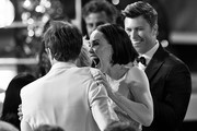 Image has been converted to black and white.) Leslie Bibb (R) reacts with Sam Rockwell after he wins the award for Outstanding Performance by a Male Actor in a Television Movie or Miniseries for 'Fosse/Verson' during the 26th Annual Screen ActorsGuild Awards at The Shrine Auditorium on January 19, 2020 in Los Angeles, California. 721359