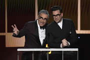 (L-R) Eugene Levy and Dan Levy speak onstage during the 26th Annual Screen Actors Guild Awards at The Shrine Auditorium on January 19, 2020 in Los Angeles, California. 721359
