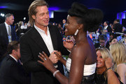 (L-R) Brad Pitt and Lupita Nyong'o attend the 26th Annual Screen ActorsGuild Awards at The Shrine Auditorium on January 19, 2020 in Los Angeles, California. 721407