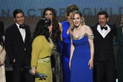 (L-R) Michael Zegen, Marin Hinkle, Alex Borstein, Caroline Aaron, and Rachel Brosnahan accept Outstanding Performance by an Ensemble in a Comedy Series for 'The Marvelous Mrs. Maisel' onstage at the 26th Annual Screen Actors Guild Awards at The Shrine Auditorium on January 19, 2020 in Los Angeles, California. 721359
