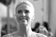 Image has been converted to black and white.) Charlize Theron attends the 26th Annual Screen Actors Guild Awards at The Shrine Auditorium on January 19, 2020 in Los Angeles, California.