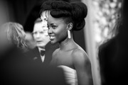 Image has been converted to black and white) Lupita Nyong'o attends the 26th annual Screen Actors Guild Awards at The Shrine Auditorium on January 19, 2020 in Los Angeles, California.