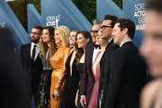 (L-R) Dustin Milligan, Annie Murphy, Catherine O'Hara, Jennifer Robertson, Sarah Levy, Eugene Levy, Emily Hampshire, Dan Levy, and Noah Reid attends the 26th Annual Screen Actors Guild Awards at The Shrine Auditorium on January 19, 2020 in Los Angeles, California. 721384