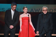 Ray Romano, Anna Paquin, and Harvey Keitel speak onstage during the 26th Annual Screen ActorsGuild Awards at The Shrine Auditorium on January 19, 2020 in Los Angeles, California.