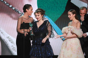 Phoebe Waller-Bridge presents Helena Bonham Carter, Josh O'Connor, Erin Doherty, and Sam Phillips with the award for Outstanding Performance by an Ensemble in a Drama Series for 'The Crown' onstage during the 26th Annual Screen Actors Guild Awards at The Shrine Auditorium on January 19, 2020 in Los Angeles, California.