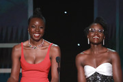 This image is a retransmission) . (L-R) Danai Gurira and Lupita Nyong'o speak onstage during the 26th Annual Screen ActorsGuild Awards at The Shrine Auditorium on January 19, 2020 in Los Angeles, California.