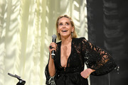 Sharon Stone speaks on stage at the 28th Annual Elton John AIDS Foundation Academy Awards Viewing Party sponsored by IMDb, Neuro Drinks and Walmart on February 09, 2020 in West Hollywood, California.