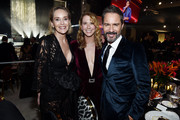(L-R) Sharon Stone, Janet McCormack and Eric McCormack attend the 28th Annual Elton John AIDS Foundation Academy Awards Viewing Party sponsored by IMDb, Neuro Drinks and Walmart on February 09, 2020 in West Hollywood, California.