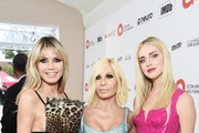 Heidi Klum,  Donatella Versace and Chiara Ferragni attend the 28th Annual Elton John AIDS Foundation Academy Awards Viewing Party sponsored by IMDb, Neuro Drinks and Walmart on February 09, 2020 in West Hollywood, California.