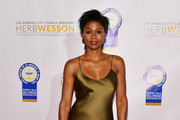 Emayatzy Corinealdi attends the 28th Annual NAACP Theatre Awards at Millennium Biltmore Hotel on June 17, 2019 in Los Angeles, California.