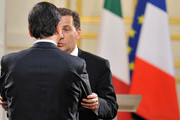 France's imigration Minister Eric Besson and Italian Minister of foreign affairs, Franco Frattini attend the 28th Franco-Italian Summit at Elysee Palace on April 9, 2010 in Paris, France. The leaders met to discuss development of nuclear energy and their involvement in assistanting Greek during their financial crisis.