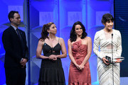 (L-R) Dan Fogelman, Chelsea Peretti, Melissa Fumero and Stephanie Beatriz accept the Outstanding Comedy Series award for 'Brooklyn Nine-Nine' onstage at the 29th Annual GLAAD Media Awards at The Beverly Hilton Hotel on April 12, 2018 in Beverly Hills, California.
