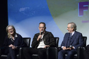"""Meryl Streep, Tom Hanks and Steven Spielberg speak on a panel at the 29th Annual Palm Springs International Film Festival Opening Night Screening of """"The Post"""" at Palm Springs High School on January 4, 2018 in Palm Springs, California."""