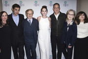 """Kristie Macosko Krieger, Josh Singer, Steven Spielberg, Liz Hannah, Tom Hanks, Meryl Streep and Amy Pascal attend the 29th Annual Palm Springs International Film Festival Opening Night Screening of """"The Post"""" at Palm Springs High School on January 4, 2018 in Palm Springs, California."""