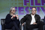 """Meryl Streep and Tom Hanks speak on a panel at the 29th Annual Palm Springs International Film Festival Opening Night Screening of """"The Post"""" at Palm Springs High School on January 4, 2018 in Palm Springs, California."""