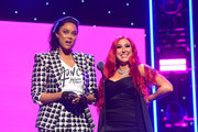 Tyra Banks (L) and Jaclyn Hill speak onstage during the 2nd Annual American Influencer Awards at Dolby Theatre on November 18, 2019 in Hollywood, California.