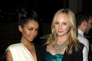 Actresses Katerina Graham (L) and Candice Accola attend the 2nd annual Golden Globes party saluting young Hollywood held at Nobu Los Angeles on December 8, 2009 in West Hollywood, California.