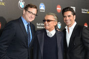 (L-R)  Comedian Bob Saget, producer Robert Evans and actor John Stamos at arrive at the 2nd Annual Rebels With A Cause Gala at Paramount Studios on March 20, 2014 in Hollywood, California.