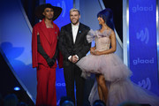 (L-R) Kalen Allen, Gus Kenworthy, and Nikita Dragun speak onstage during the 30th Annual GLAAD Media Awards New York at New York Hilton Midtown on May 04, 2019 in New York City.