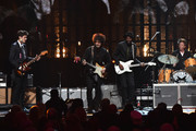 John Mayer, Doyle Bramhall II, Gary Clark Jr. and Chris Layton perform a song by inductee Stevie Ray Vaughan and Double Trouble onstage during the 30th Annual Rock And Roll Hall Of Fame Induction Ceremony at Public Hall on April 18, 2015 in Cleveland, Ohio.
