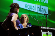 Jessica Mendoza and Shawn Johnson speak onstage during the 30th Annual Salute To Women In Sports Awards at The Waldorf=Astoria on October 13, 2009 in New York City.