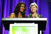 Boxer Laila Ali and journalist Cokie Roberts speak onstage during the 30th Annual Salute To Women In Sports Awards at The Waldorf=Astoria on October 13, 2009 in New York City.