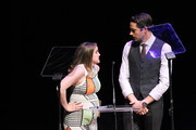 Actress Anna Chlumsky and host Zachary Levi speak onstage during the 31st Annual Lucille Lortel Awards at NYU Skirball Center on May 1, 2016 in New York City.