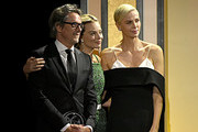 (L-R) Honoree Charles Randolph, Margot Robbie, and honoree Charlize Theron are seen onstage during the 31st Annual Producers Guild Awards at Hollywood Palladium on January 18, 2020 in Los Angeles, California.