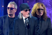 (L-R) Ian Gillian, Roger Glover, and David Coverdale of Deep Purple speak onstage at the 31st Annual Rock And Roll Hall Of Fame Induction Ceremony at Barclays Center of Brooklyn on April 8, 2016 in New York City.