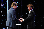 Bradley Cooper and Sean Penn attend the 32nd American Cinematheque Award Presentation Honoring Bradley Cooper Presented by GRoW @ Annenberg. Presentation and The 4th Annual Sid Grauman Award Presented By Hill Valley, To Doug Darrow on behalf of Dolby Laboratories at The Beverly Hilton Hotel on November 29, 2018 in Beverly Hills, California.