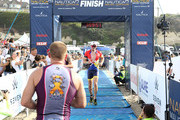 Steve Howey at the finish line of the 4-mile run during the 33rd Annual Nautica Malibu Triathlon Presented By Bank Of America on September 15, 2019 in Malibu, California.