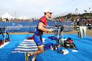 Steve Howey transitions from the 17-mile bike course to the 4-mile run during the 33rd Annual Nautica Malibu Triathlon Presented By Bank Of America on September 15, 2019 in Malibu, California.