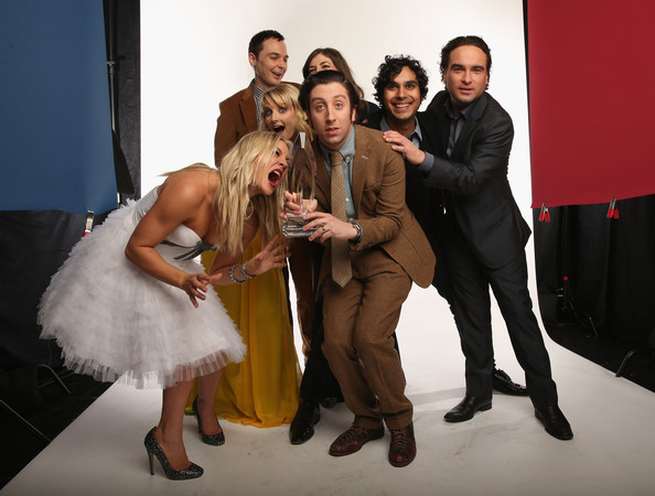 Host Kaley Cuoco and actors Melissa Rauch, Simon Helberg, Mayim Bialik, Jim Parsons, Kunal Nayyar, Jim Parsons and Johnny Galecki pose for a portrait during the 39th Annual People's Choice Awards at Nokia Theatre L.A. Live on January 9, 2013 in Los Angeles, California.