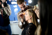 Sonja Morgan prepares backstage during the The 3rd Annual Blue Jacket Fashion Show Benefitting The Prostate Cancer Foundation at Pier 59 Studios on February 7, 2019 in New York City, NY.