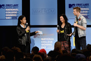 Kim Schifino, Matt Johnson of Matt & Kim speak onstage at the 3rd Annual College Signing Day at the Harlem Armory on April 26, 2016 in New York City. The event, co-hosted by MTV, was  part of First Lady Michelle Obama's Reach Higher initiative which encourages young people to continue their education past High School.