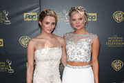 Actresses Hunter King (L) and Kelli Goss attend The 42nd Annual Daytime Emmy Awards at Warner Bros. Studios on April 26, 2015 in Burbank, California.