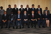 (Back Row L-R) Vanautu Head of Delegation Simeon Athy, Tonga Prime Minister Lord Tu'ivakano, Premier of Niue Toke Tufukia Talangi, Prime Minister  of the Cook Island Henry Puna Prime, Minister of Tuvalu Willie Telavi,  HE Emanuel Mori FSM, , President of Palau Johnson Toribiong, President of Nauru Marcus Stephen (Front Row L-R) Foreign Minister of PNG Ano Pala ,President of the Marshall Islands Jurelang Zedkaia, Prime Minsiter of Solomon Islands Danny Philip, Secretary General Tuiloma Neroni Slade, Prime Minister of New Zealand John Key, His Excellency Mr Ban Ki-moon, UN Secretary-General, Samoan Prime Minister Hon. Tuilaepa Lupesoliai Sailele. Malielegaoi, Prime Minister of Australia Julia Gillard and President of Kiribati Anote Tong pose for an official leaders photo on September 7, 2011 in Auckland, New Zealand. The annual gathering of leaders of the pacific nations has attracted heavyweight list of guests this year including United Nations Secretary General Ban Ki-moon, European Commission President Jose Manuel Barroso, the French Foreign Minister and the US Deputy Secretary of State. The forum conclusion coincides with the Opening Ceremony of the Rugby World Cup.