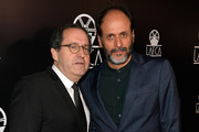 Michael Barker, Co-President and Co-Founder of Sony Pictures Classics (L) and Luca Guadagnino attend the 43rd Annual Los Angeles Film Critics Association Awards on January 13, 2018 in Los Angeles, California.