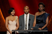 (L-R) Actors Meagan Good, Columbus Short and Adepero Oduye speak onstage at the 43rd NAACP Image Awards held at The Shrine Auditorium on February 17, 2012 in Los Angeles, California.