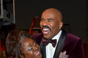 Host Steve Harvey (R) and actress Cassi Davis backstage at the 44th NAACP Image Awards at The Shrine Auditorium on February 1, 2013 in Los Angeles, California.