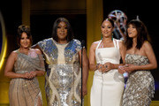 (L-R) Adrienne Bailon, Loni Love, Tamera Mowry and Jeannie Mai speak onstage during the 45th annual Daytime Emmy Awards at Pasadena Civic Auditorium on April 29, 2018 in Pasadena, California.