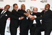 (L-R) Producers of Real Husbands of Hollywood Ralph Farquhar, Jesse Collins, Stan Lathan, Tim Gibbons, and Chris Spencer pose in the press room during the 45th NAACP Image Awards presented by TV One at Pasadena Civic Auditorium on February 22, 2014 in Pasadena, California.