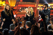Singer Stevie Nicks performs with singer Hillary Scott and Guitarist Dave Haywood (R) of Lady Antebellum onstage during the 49th Annual Academy Of Country Music Awards at the MGM Grand Garden Arena on April 6, 2014 in Las Vegas, Nevada.
