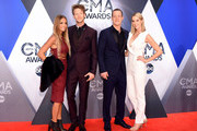 (L-R) Brittney Marie Cole, Brian Kelley and Tyler Hubbard of Florida Geogia Line, and Hayley Stommel attend the 49th annual CMA Awards at the Bridgestone Arena on November 4, 2015 in Nashville, Tennessee.