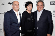 """(L-R) CEO of DreamWorks Animation Jeffrey Katzenberg, Marilyn Katzenberg and chairman and chief executive officer of Fox Filmed Entertainment Jim Gianopulos attend the 4th Annual """"Reel Stories, Real Lives"""", benefiting the Motion Picture & Television Fund at Milk Studios on April 25, 2015 in Hollywood, California."""
