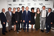"""(L-R) CEO of DreamWorks Animation Jeffrey Katzenberg, tv personality Robert Herjavec, dancer Kym Johnson, actors Tobey Maguire, John Stamos, honoree Kevin Spacey, actors Yvette Nicole Brown, Lizzy Caplan, Tony Goldwyn and Chairman and Chief Executive Officer of Fox Filmed Entertainment Jim Gianopulos attend the 4th Annual """"Reel Stories, Real Lives"""", benefiting the Motion Picture & Television Fund at Milk Studios on April 25, 2015 in Hollywood, California."""